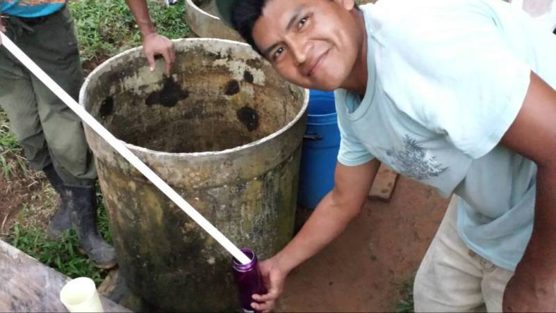 Pastor Manuel using water in his home for the FIRST time. The team that Jacob led was able to build an aqueduct for the running water.